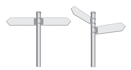metal post: Metal pointer directions, two direction horizontal