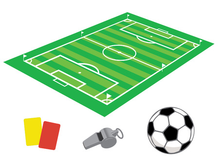 Soccer field in isometries with whistle and the ball