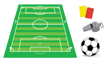 Soccer field in perspective with the whistle and ball