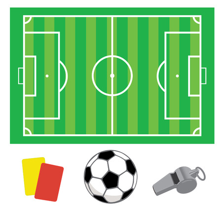 Soccer green field with the ball and whistle and cards Vector