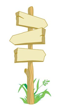 Wooden pointer directions with grass vertical, three-pointer directions Illusztráció