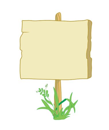 Wooden sign with field for instructions and grass Illusztráció