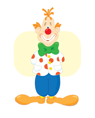 wag: Red smiling clown with a green bow Illustration