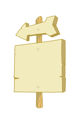 Wooden sign with an arrow and board for text