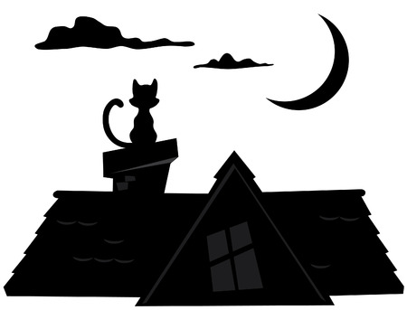 mansard: Silhouette night sitting on the roof of a cat