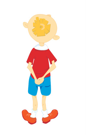 Little boy in a red shirt stands back