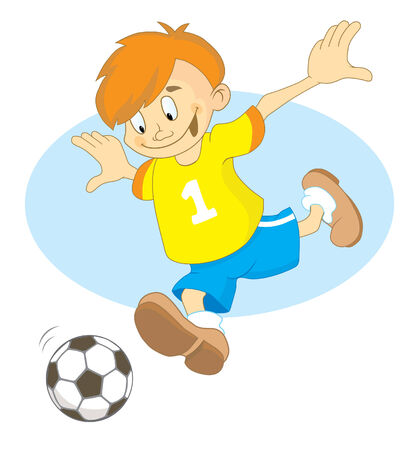 Footballer boy in the yellow T-shirts with number 1