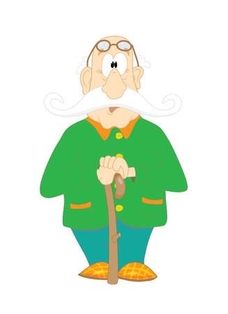 vector cartoon: Grandfather with big moustache and slippers