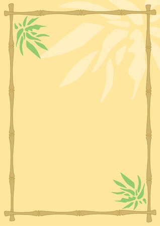 abstract background with the frame of bamboo stalks and leaves Vector