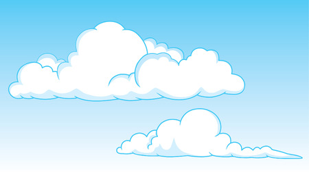 Two cumulus clouds in the sky Stock Vector - 3131241