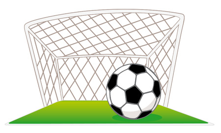 football pitch: Soccer gates and ball Illustration
