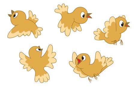 Five little birds flying Vector