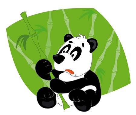 Panda sits with bamboo Vector