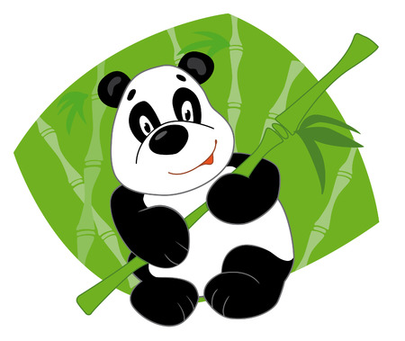 Panda keeps bamboo and smiling Illustration