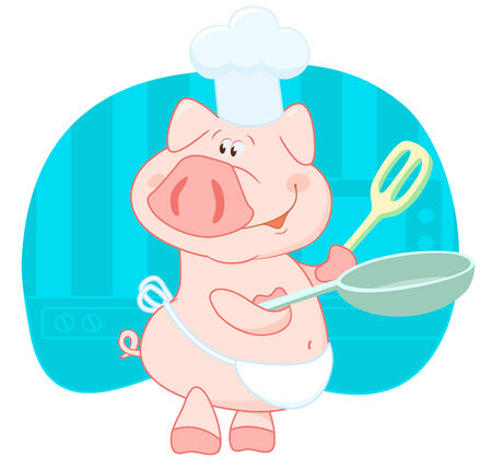 Pig cook in the shell Stock Vector - 3272587