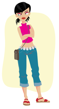 Girl in jeans with his hands crossed Vector