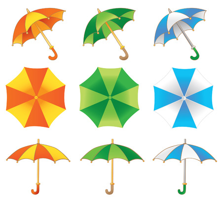 damp: Three colored umbrella