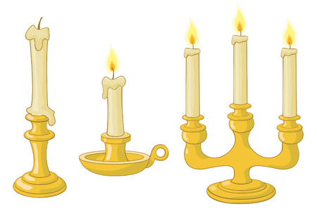 candlelight: candles and candlesticks and candelabrum