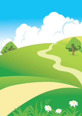 paisaje con las nubes y por carretera Ilustración de vector