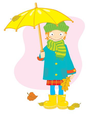 rainy season: Girl with umbrella and leaves