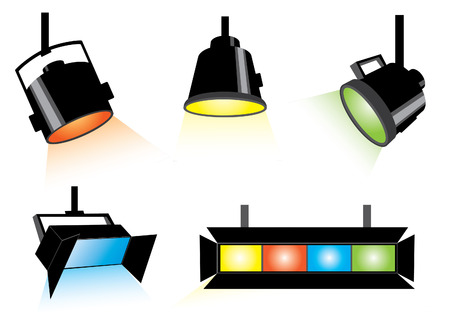 staging: Five colored spotlights  Illustration
