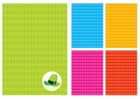 Five background with rhombus and a green hat Vector