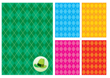 Five checkerboard background and a green hat Vector