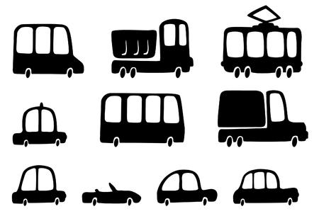 tramway: Fun silhouettes cars Illustration