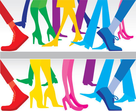 pacing: colored silhouettes of legs