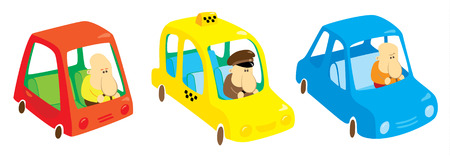Three cars with drivers  Vector