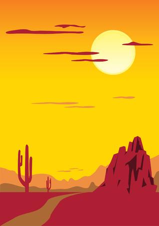 hillock: Paisaje des�rtico con cactus Vectores