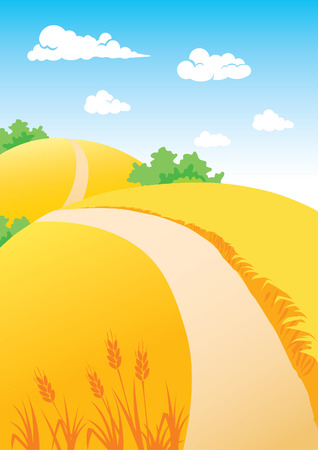 Autumn landscape with wheat fields Vector