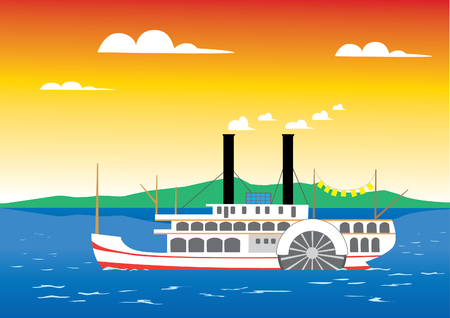 Paddle steamer sailing on the river Stock Vector - 5536156