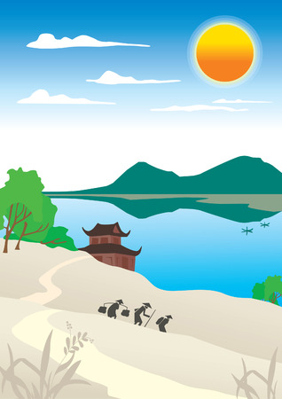 View of the lake and pagoda Stock Vector - 5600930