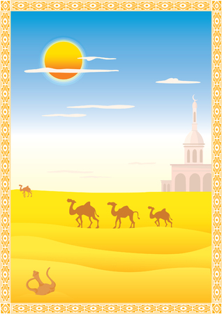 Arabic landscape with ornamental Illustration