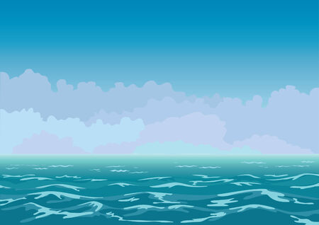 panorama view of the restless sea and clouds Illustration