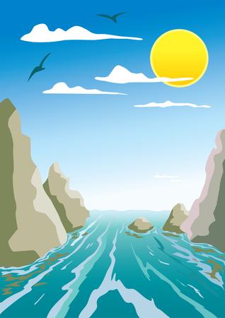 flowing river: water flow between the rocks