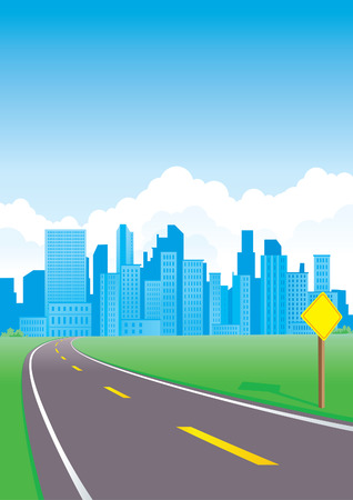 Road to the city with sign Vector