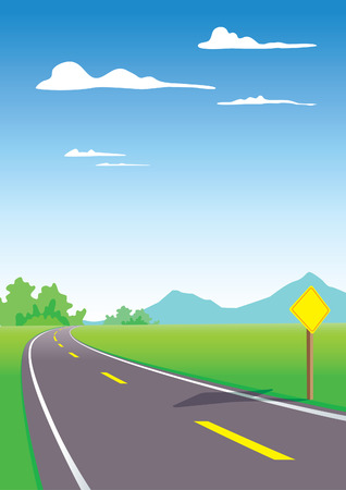 winding road: Country roads with sign