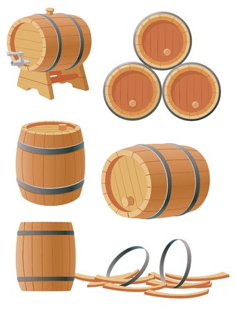 collection of wooden barrels Vector