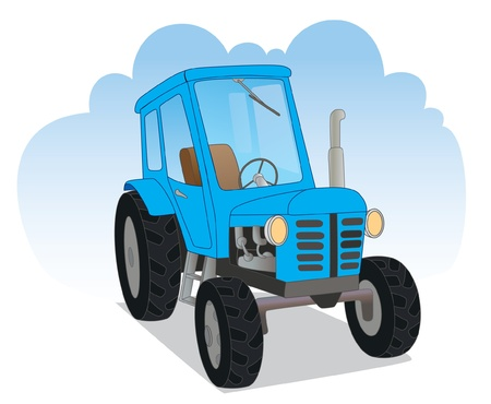 Blue agricultural tractor Stock Vector - 14192395