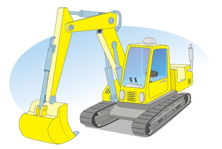 Yellow construction excavator