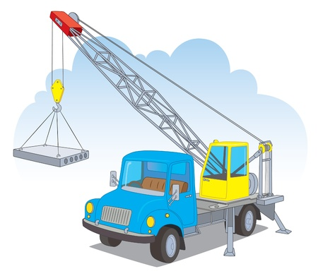 camion grua: Una grúa con una carga Vectores