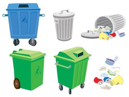 desechos organicos: La basura y botes de basura y una canasta Vectores