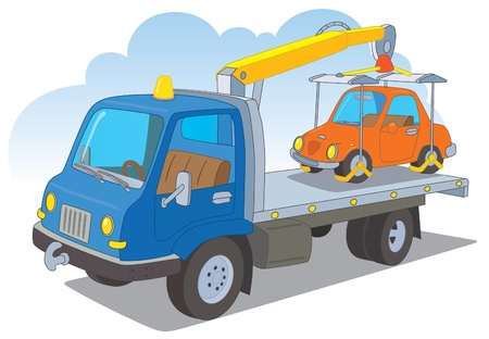 the roadside: Tow truck with a passenger car