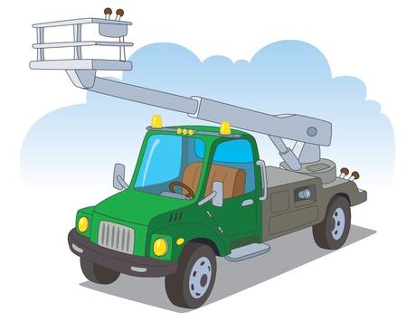 montacargas: Camión urbano con un elevador hidráulico