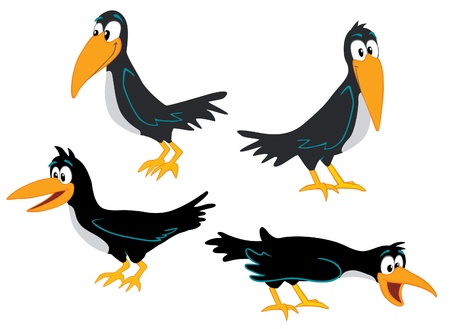 Crows collection Vector Illustration