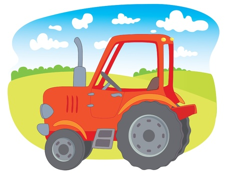 Red farm tractor Vector