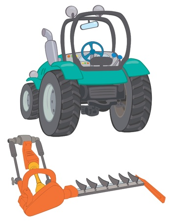 Farm tractor with mower Stock Vector - 14530280