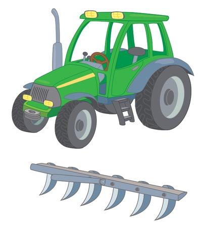 tillage: Trattori agricoli con un aratro Vettoriali